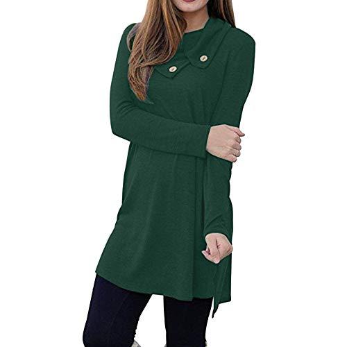 - clearance sale!!ZEFOTIM Women's Casual Long Sleeve Button Lapel Neck Sides Slit Shirt Dress(X-Large,Green)