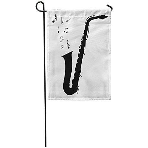 Garden Flag 12x18 Inches Print On Two Side Polyester Jazz Saxophone Silhouette Playing Popular Symbols Arts Band Bar Home Yard Farm Fade Resistant Outdoor House Decor Flag