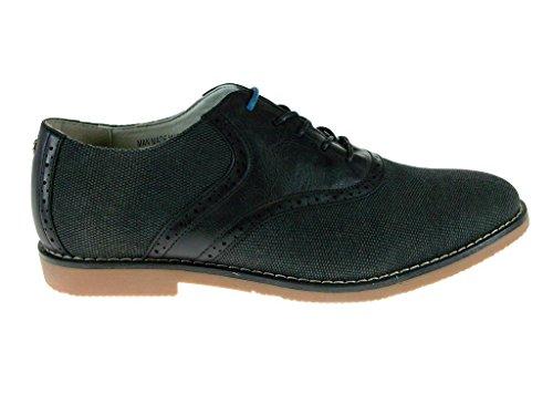 Mens C1407 Ronde Neus Textuur Veter Oxford Schoenen Zwart