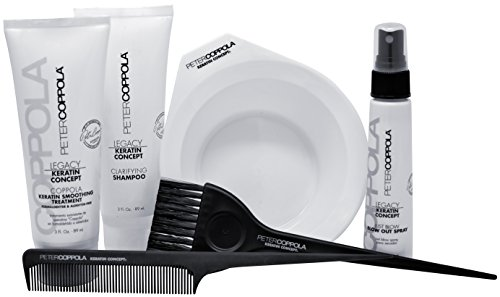 Peter Coppola Keratin Hair Treatment Kit - A Keratin Treatment at Home Use. Includes: Treatment (3oz) Shampoo (3oz) Just Blow Spray (2oz) Bowl, Brush and Comb. Straightens and Smooths All Hair Types