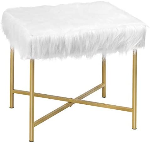 Giantex Ottoman Footrest W/Padded,Luxurious Faux Fur Covered Seat and Gold Metal Base