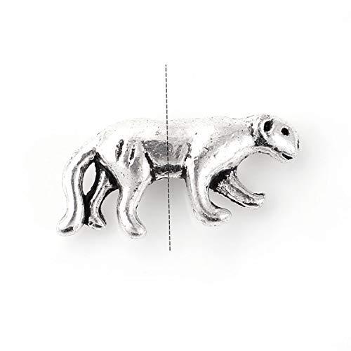 "PEPPERLONELY 50pc Antiqued Silver Alloy 3D Leopard Charms Pendants 19 x9mm(6/8"" x 3/8"")"