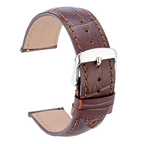 WOCCI Quick Release Watch Bands,Replace 22mm Brown Alligator Leather Watch Strap with Silver Pins Buckle