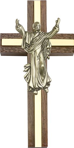 F A Dumont 4 inch Contemporary Risen Christ Cross, Walnut w/Antique Gold Inlay