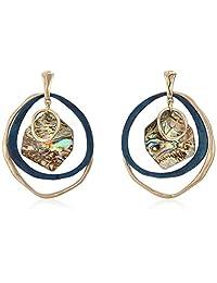 Robert Lee Morris Soho Women's Geometric Abalone Stone Orbital Earrings, One Size