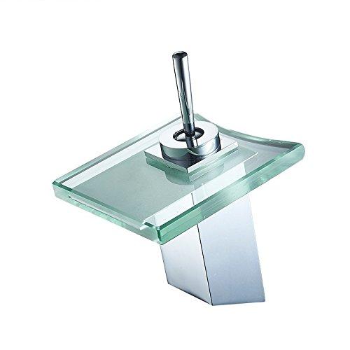 MMYNL Waschtischarmaturen Volle Kupfer Bad mit heißem und kaltem Glas Wasserfall Armatur Waschbecken Armaturen