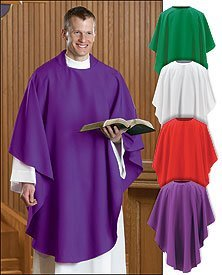 Red Chasuble - Everyday Chasuble for Clergy Members and Priests (White)