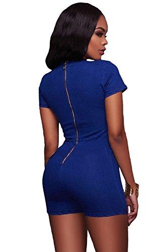 [Summer Blue Denim Wash Lace Up Grommet Detail Romper 2017 Hot Night Club Costume Kits] (Denim Romper Costume)