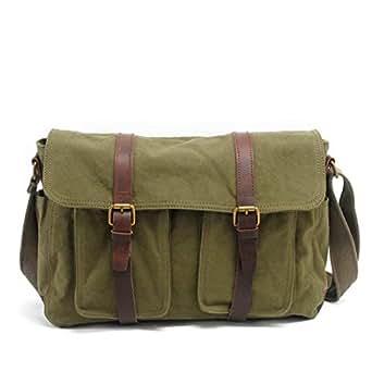 Mens Bag Canvas Shoulder Bags Travel Bag Man Purse Crossbody Bags for Work Business Men's Bag Messenger Bag High capacity (Color : ArmyGreen)