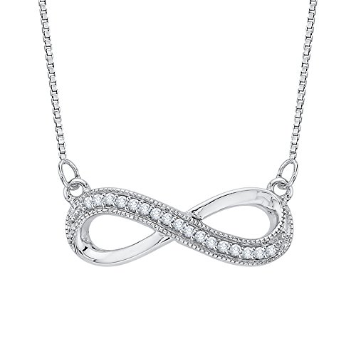 (Infinity Diamond Milgrain Pendant Necklace in Sterling Silver (1/20 cttw) (Color JK, Clarity I1-I2))