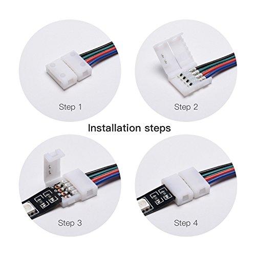 FSJEE 10mm 5050 RGB LED Strip Light Connectors Kits with 10PCS L Shape 4 Pin Right Angle Corner Solderless Connector and 10PCS Solderless Wire 4 Pin 10mm Wide Strip to Strip Jumper by FSJEE (Image #5)