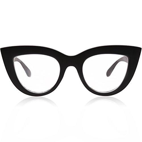 SOJOS Vintage Cateye Eyeglasses for Women Eyewear Frame Clear Lens Glasses SJ2939 with Black Frame/Clear Lens