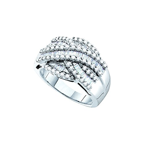 Roy Rose Jewelry 14K White Gold Womens Baguette Round Diamond Crossover Cocktail Band Ring 1-Carat tw ~ Size 7 - Baguette Diamond Crossover