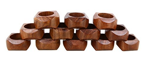 Shalinindia Handmade Artisan Crafted in India Wood Napkin Ring Set of 12