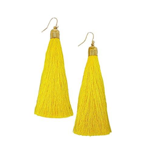 Mina Gold Long Tassel Draping 4 inch Drop Extra Long Shoulder Duster Yellow Earring ()