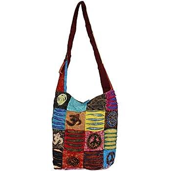 Patchwork Hobo Shoulder Bag Multicolor Embroidered Velvet Hippie Boho Purse New