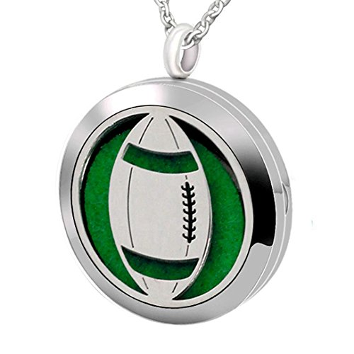 Football American Accessories (Popeoiuh Essential Oil Diffuser Necklace Hypoallergenic Stainless Steel Aromatherapy American Football Locket Pendant Jewelry Sets Gift for Women Men Boys Girls Kids)