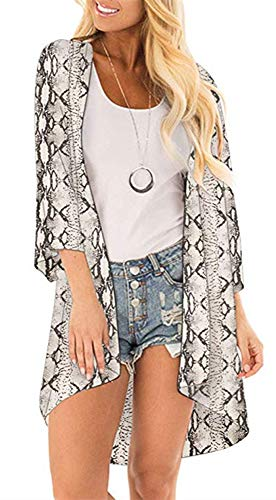 Womens Floral Kimono Cardigans Sheer Print Chiffon Loose Beach Cover ups ( Snake Print,S