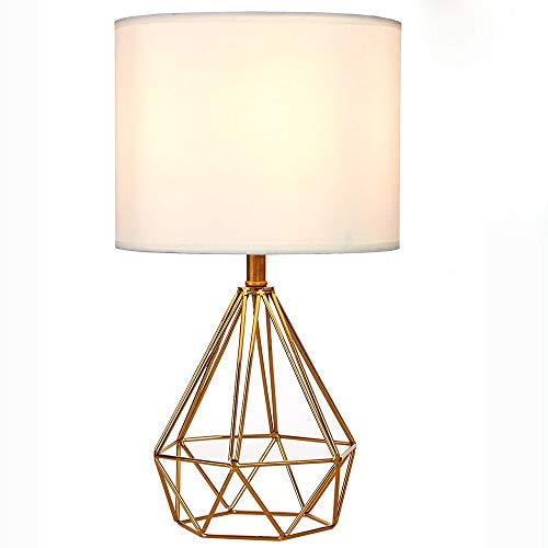 shamoluotuo Modern Style Golden Diamond Hollowed Out Base Living Room Bedroom Bedside Table Lamp, Coffee Table Bookcase Nightstand Decorative Desk Lamp with White Shade (Gold, 9.06x15.75inch) (Black Target Nightstand)