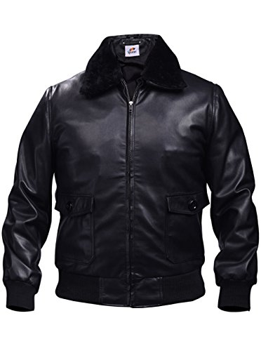 Leather Bomber Style Jacket (Sputer Navel Militery Black Bomber Leather Jacket For Men Faux PU Designer Fashion Style, X-Large, Black)