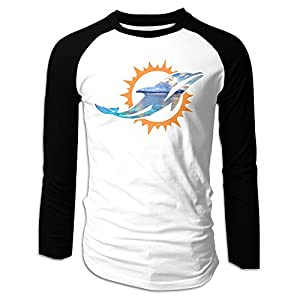Kim Lennon Miami Lovely Dolphin Men Long Sleeve Round Collar Raglan T-shirt Black S