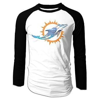 Kim Lennon Miami Lovely Dolphin Men Long Sleeve Round Collar Raglan T-shirt Black S