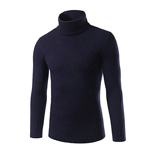 Shining4U Mens Sweaters and Pullovers Men Turtle Neck Sweater Male Outerwear Jumper Knitted Turtleneck Sweaters M-XXL Navy BlueLarge by Shining4U Pullover-sweaters