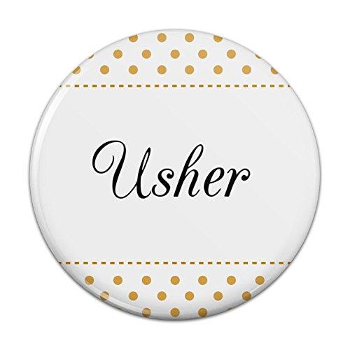 Usher Wedding Elegant Polka Dots Pinback Button Pin Badge - 2.25