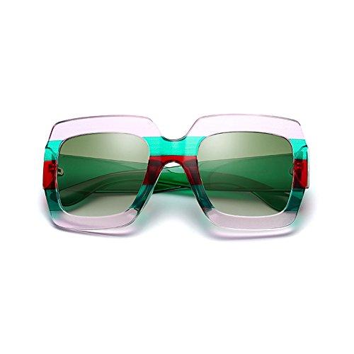 Ocean Green Verde Sol Imprimir y Té Marco Color Gafas Plaza de Gafas América Europa Mujer Negro Green Moda Trend Transparente g7qxfRwAfU