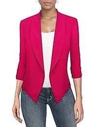 Womens Casual Work Office Open Front Blazer JK1133 Fuchsia L