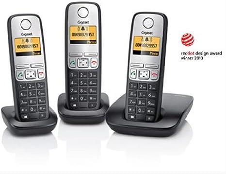 Siemens Gigaset A400 TRIO - Teléfono fijo digital (Altavoces, manos libres, inalámbrico), Negro: Amazon.es: Electrónica