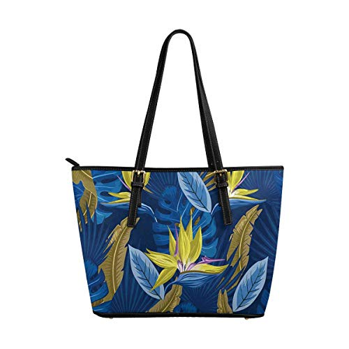 InterestPrint Palm Leaves, Bird of Paradise Flower Tote Bags Zippered Tote for Women Overnight HandBags