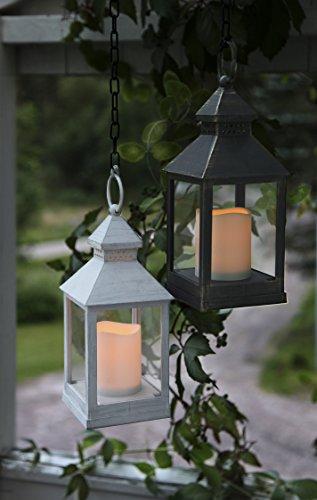 2er Set (= 2 Stück) Romantisch dekorative LED Laternen 24 cm x 10 cm - in WEISS und SCHWARZ - mit LED - Kerze flackernd - inklusive Timer - für Innen und Außen - Bereich - OUTDOOR - NEU - aus dem KAMACA-SHOP