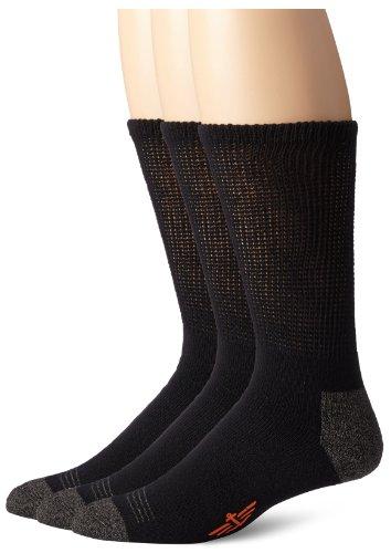 Dockers Men's 3-Pack Non-Binding Cushion Comfort Crew, Black, Shoe Size: 6-12 (Sock Size: 10-13)