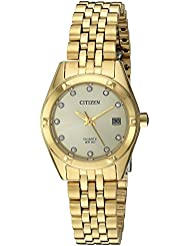 Citizen Womens EU6052-53P Analog Quartz Gold-Toned Stainless Steel Watch