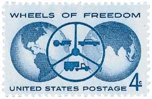 Us Plate Block (1960 4¢ Wheels of Freedom U.S. Postage Stamp Plate Block (4) #1162)