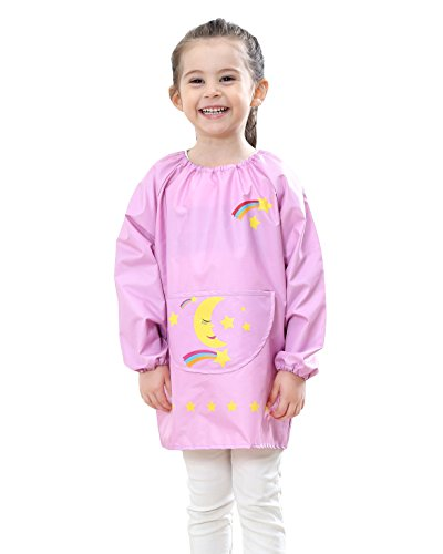 Kids Bib Aprons - Toddler Baby Waterproof Pullover Sleeved Bib Children Rainbow Printing Thin Breathable Painting Eating Playing Apron Smock Pink 2-4 T