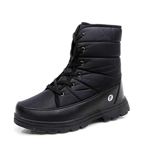 Ceyue Men Snow Boots Waterproof Winter Snow Boots for Men High Top Lace Up Snow Boots with Pure Color