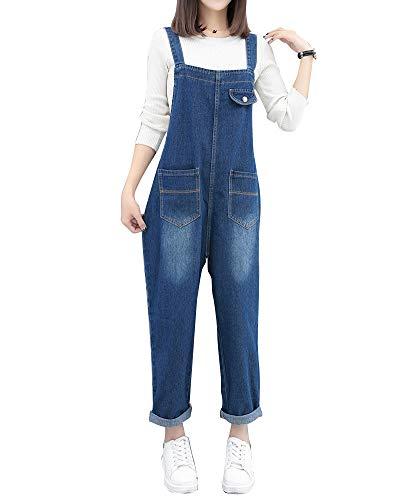 Mujeres Babero Bib Directamente Jumpsuits Jeans con Bolsillo Pantalón Largos Vaquero Azul