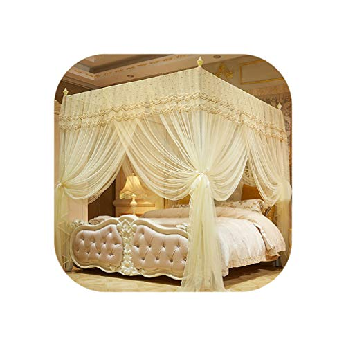 Pink/Violet Romantic European Style Three-Door Court Double Bed Mosquito Net Full Queen King Size Prevent Mosquitoes Bedding Set,4,180X220Cm