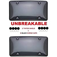 """Clear Smoked License Plate Shield Combo 2 Pack Premium Unbreakable Quality fits Standard 6"""" x 12"""" Plates Includes 8…"""