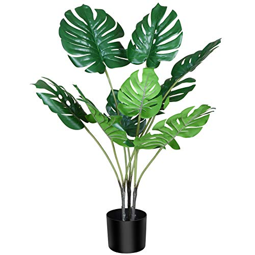 "CROSOFMI Artificial Monstera Deliciosa Plant 37"" Fake Tropical Palm Tree with 9 Leaves in Pot for Indoor Outdoor House Home Office Modern Decoration Perfect Housewarming Gift-1Pack"