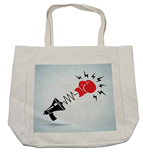 pping Bag, Protesting Boxer Sports Wrist Punch Fight Resistance Poster Print, Eco-Friendly Reusable Bag for Groceries Beach Travel School & More, Cream (Cotton Heavyweight Boxers)