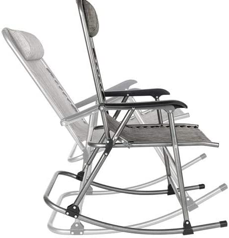 Foldable Rocking Mesh Patio Recliner Chair,Outdoor Camping Rocking Chair