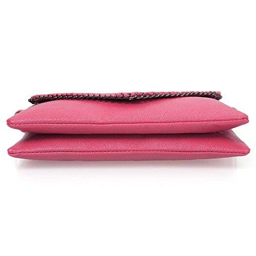 BMC Mujer Piel Artificial Con Textura Metal Acento Varios colores Compartimento Bolso De Mano Rosa Lindo