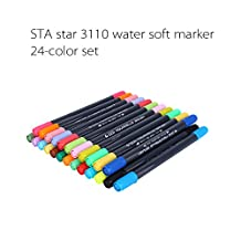 Brush Pen Set--12/24/36/48 Colours Water Based Duel Tip Sketch Marker Pen Brush & Fine Tip Markers For Adult Colouring Book, Great Kids Markers For Colouring (24)