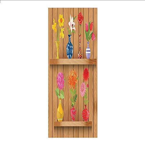 3D Decorative Film Privacy Window Film No Glue,Daffodil,Glass Vases with Colorful Flowers on Wooden Shelves with Pastel Effects Artsy Graphic,Multi,for Home&Office
