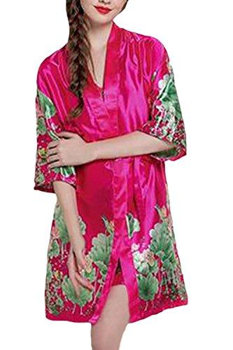 Floreale Elegante Smanicato Primaverili Pigiami V Abito Rose Notte Da Donna Stampati Sleepwear Vestaglia Neck Homewear Pezzi Autunno Camicia 2 Casuali Pigiama Homewear qt8awf7