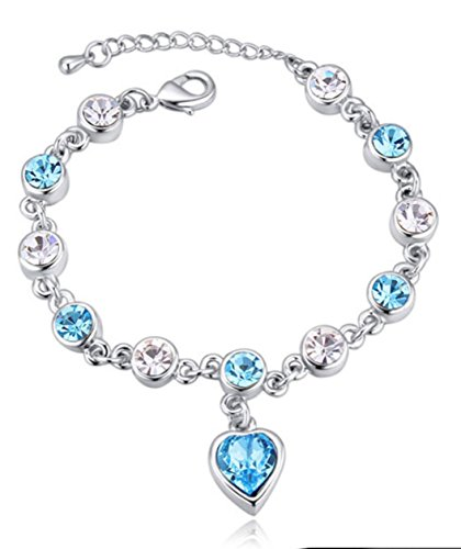 Tiffany Mini Heart Tags - Aquamarine Swarovski Crystal Heart Charm Silver Bracelet