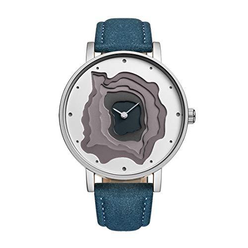 STARKING Women Blue Leather Band Gray Face TM0907 Japanese Quartz Analog Casual Dress Watch Waterproof Unisex